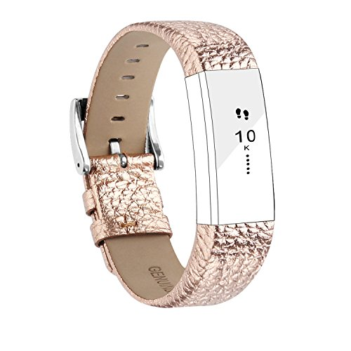 (POY Replacement Bands Compatible for Fitbit Alta and Fitbit Alta HR, Genuine Leather Wristbands, Rose Gold)