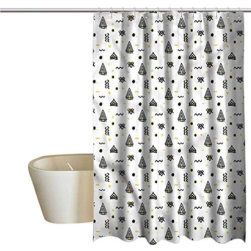 - Denruny Shower Curtains Rainbow Tribal,Abstract Curved Stripes,W72 x L84,Shower Curtain for Girls Bathroom
