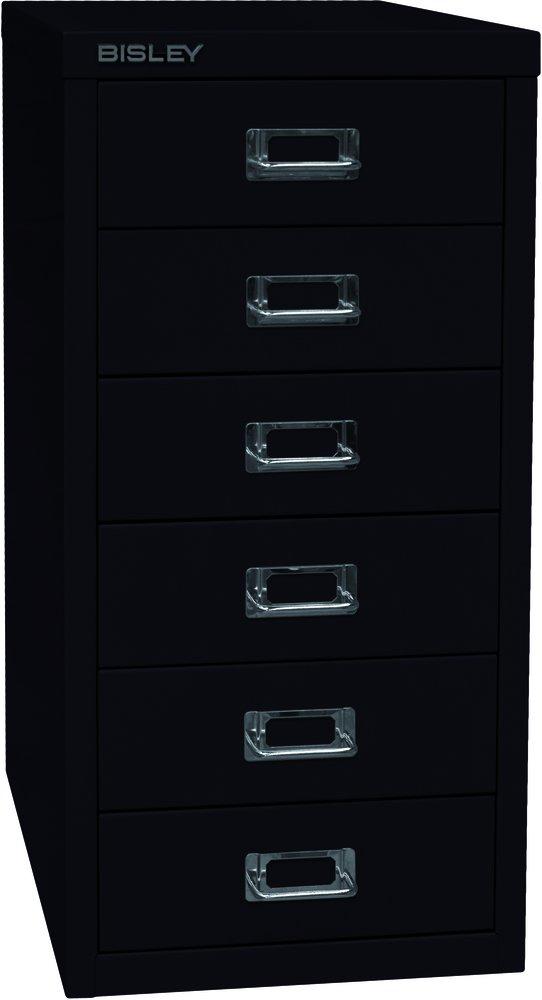 Bisley MultiDrawer, 29er Serie, DIN A4, 6 Schubladen, Metall, 633 Schwarz, 38 x 27.9 x 59 cm L296633