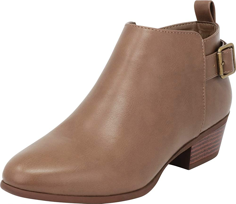 Taupe Pu Cambridge Select Women's Classic Buckle Chunky Stacked Low Heel Ankle Bootie