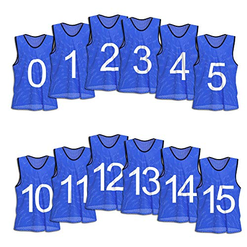 Unlimited Potential Nylon Mesh Numbered Scrimmage Team Practice Vests Pinnies Jerseys for Children Youth Sports Basketball, Soccer, Football, Volleyball (Blue Numbered, Adult) - Piping Softball Jersey
