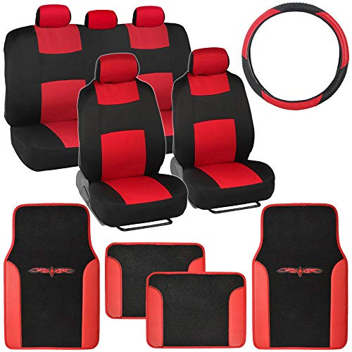 Car Set Cover Seat - BDK Red Combo Fresh Design Matching All Protective Seat Covers (2 Front 1 Bench) Ergonomic Steering Cover (1 Piece) Heavy Protection Sleek Graphic Auto Carpet Floor Mats (4 Set)