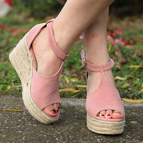 CCOOfhhc Women's Wedge Sandals Casual Sandals Shoes Summer Adjustable Ankle Buckle Open Toe Wedges Heels Pink by CCOOfhhc (Image #2)