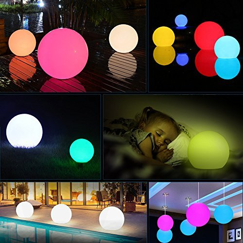 Tker Solar Light Ball Waterproof Floating 16RGB Solar Power Light 6-inch LED Color-Changing with Remote Control Great for Night Light Party Pool Patio Ambient & Decorative Lighting
