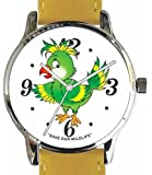 """Save Our Wildlife"" Large Polished Chrome Watch with Yellow Leather Strap has a ""Parrot"" image and Donation to the African Wildlife Foundation"