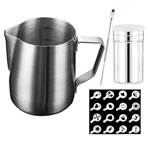 SIPLIV Coffee Art Tool Kit 20 Oz(600 ml) Stainless Steel Espresso Steaming Pitchers Milk Frothing Pitcher with Measurement Markings, Coffee Art Pen, Cocoa Powder Shaker, 16 Coffee Stencils