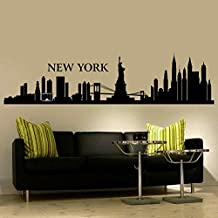 """BATTOO Wall Decal New York City NYC Skyline Cityscape Travel Vacation Destination The Big Apple(16""""h x68""""w,Custom color)"""