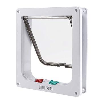 Qwhome - Puerta magnética para Gato con 4 cerraduras para Cachorros y Perros pequeños, Blanco