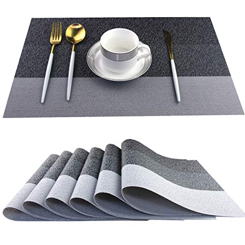 Bright Dream Placemats for Dinner Table Non Slip Easy Clean Kitchen Placemats Set of 6 (Stripe Black)