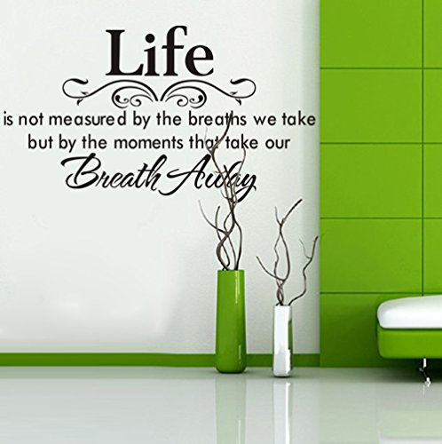 New Type Lettering Wall Stickers - URR Quotation and Sayings Stickers Decor [Life Is Not Measured By the Breaths We Take but By the Moments That Take Our Breath Away] Wall Vinyl Sticker Decal Home Decor Lettering (New Type 1Pcs)