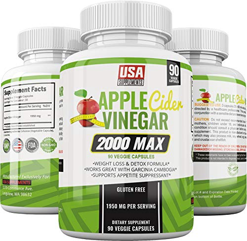 Apple Cider Vinegar Capsules for Weigh Loss | 1,950mg | 100% Pure Raw Organic Veggie Pills | Detox, Healthy Blood Sugar, Digestion, Appetite Suppression & Bloating Relief