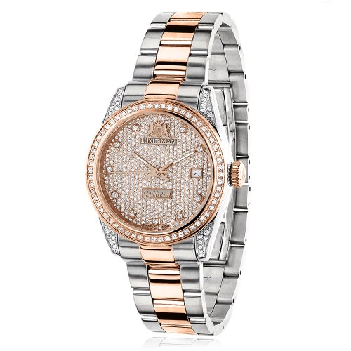 Two Tone Rose Gold Plated Women's Diamond Watch 1.5ct LUXURMAN (Rose Gold Plated Diamond Watch)