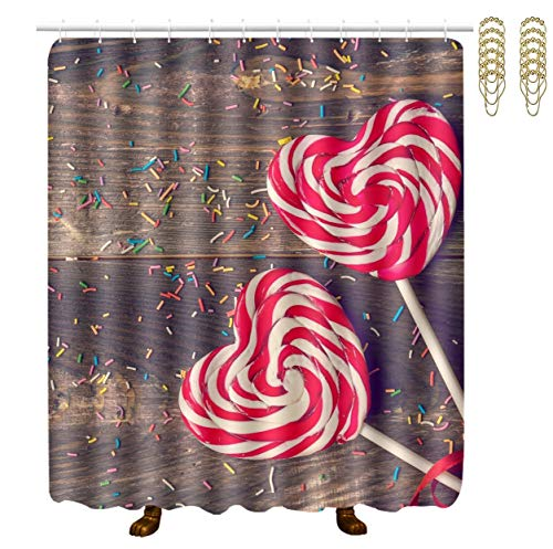 NiYoung Stalls and Bathtubs Shower Curtains with Rustproof Grommets Holes Window Curtain - Large Size (Sweet Candy)
