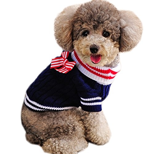 Alfie Pet - Sunny Cable Knit Sweater with Ribbon - Color: Navy, Size: Small]()