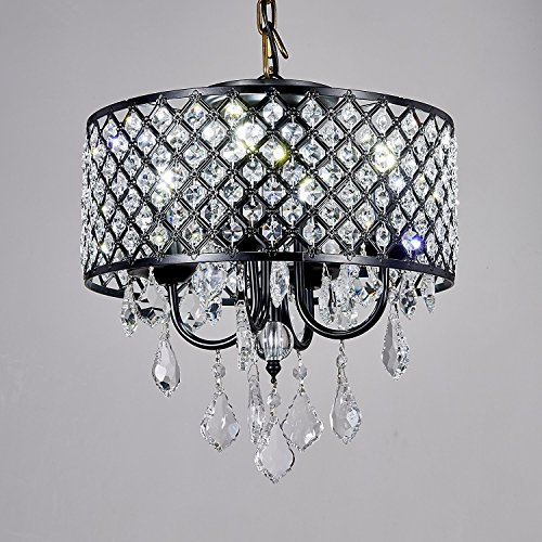Broadway Black Classic Crystal Chandeliers Modern Lamps Pendant Light Ceiling Flush Mount Fixture for Kitchen BL-AJA BK4 W14 X H14 Inch