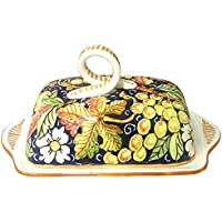 CERAMICHE D'ARTE PARRINI- Italian Ceramic Butter Dish Hand Painted Decorated Grape Made in ITALY Tuscan Art Pottery