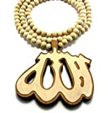 Large Wooden 3D Allah Natural Good Quality Wood Pendant & Chain