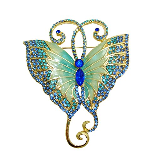- TTjewelry Pretty Butterfly Art Nouveau Brooch Pin Austria Crystal Gifts (Blue)