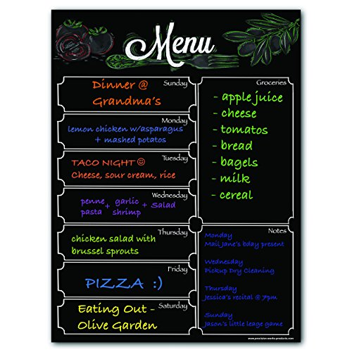 - Magnetic Menu Board for Fridge with Solid Black Background