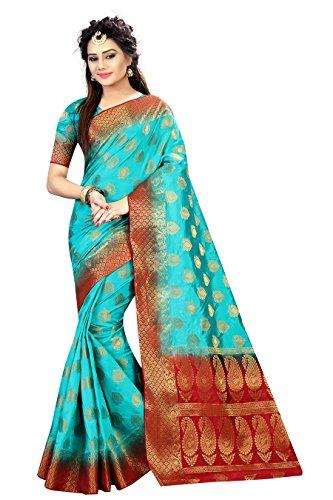 Designer Sarees Woven Work Banarasi Art Silk Saree for women With Unstitched Blouse Piece (Teal)