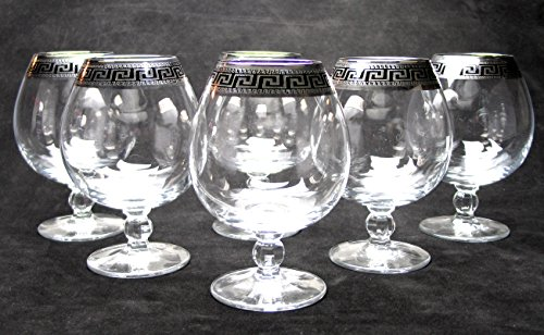 ''Cristalleria Italian Decor'' Crystal Cognac Snifter Goblet, 17 oz. Silver Platinum Greek Key Ornament, Hand Made in Italy, SET OF 6 Glasses by Cristalleria Italian Decor