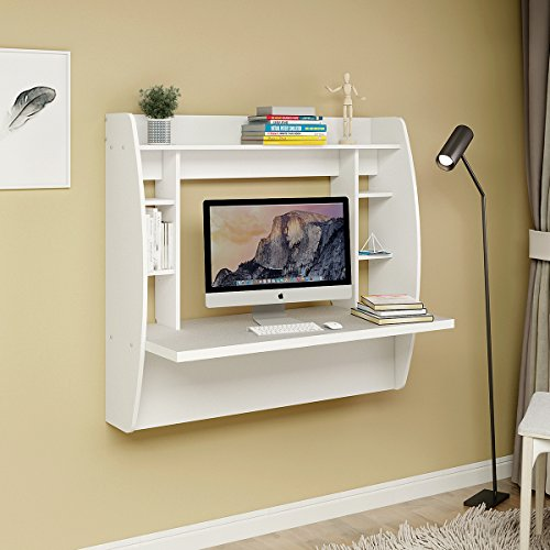 Wall Mount Floating Desk with Storage by DEVAISE (White)