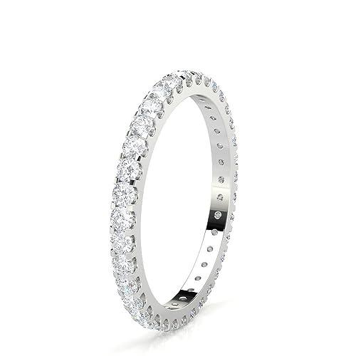DND - Anillo de boda para mujer, forma redonda/corte diamante, platino,