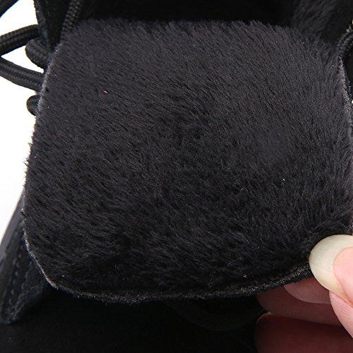 XIA Martin Stiefel Retro Verdickung warm halten britischen Stil Outdoor Damenschuhe Black-thick