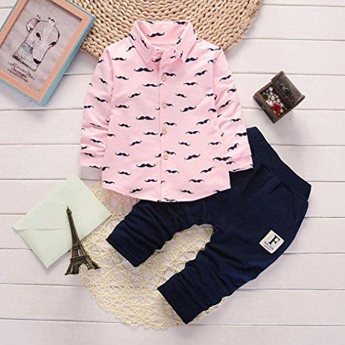 Omiky® 2pcs Kleinkind-Säuglingsbaby-Jungen-Buchstabe-Kleidung stellte Tops + Pants Outfits ein Rosa