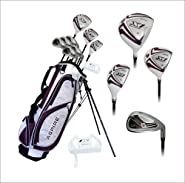 Aspire X1 Ladies Womens Complete Right Handed Golf Clubs Set Includes Titanium Driver, S.S. Fairway, S.S. Hybrid, S.S. 6-PW Irons, Putter, Stand Bag, 3 H/C's Purple