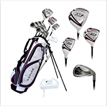 Aspire X1 Ladies Womens Complete Right Handed Golf Clubs Set Includes Titanium Driver, S.S. Fairway, S.S. Hybrid, S.S. 6-PW Irons, Putter, Stand Bag, 3 H/C's Purple Petite Size for Ladies 5'3