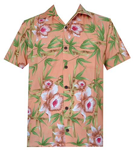 Hawaiian Shirts 51 Mens, Flower Bamboo Beach Aloha Casual Holiday Orange XL ()