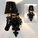 HOMEE Wall lamp- modern creative resin horse head wall lamp ktv hotel clubhouse entrance hall aisle living room bedroom bedside wall lamp (color optional) --wall lighting decorations,A