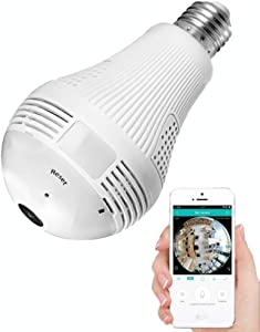Light Bulb Camera, Include 16gb Card hd 1080p-Wifi 360°2.4ghz Wireless Security IP Panoramic Dome Camera, with Night Vision, Alarm, Suitable for Baby, Office, Pet Monitor