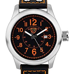 Picard & Cie Stellihorn Mens Watch - Black Leather Strap, Silver Case, Black Dial, Orange Indexes