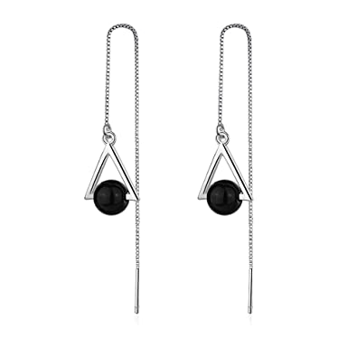 b969c27a7d4ea MIDUO Artificial Black pearl drop earrings for women White gold plated  chain long earring geometry jewelry