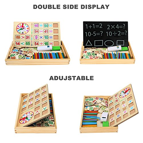 BATTOP Wooden Counting Sticks Arithmetic Box Learning Mathematics Educational Toys with Counting Rods& Blackboard