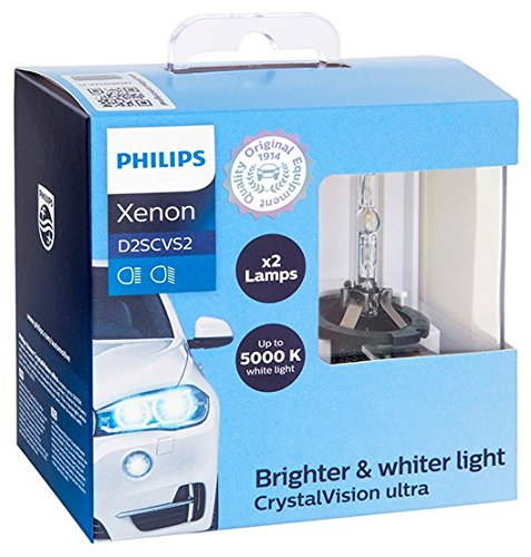 Blue Xenon Hid Headlights Lights - Philips D2S CrystalVision ultra Authentic Xenon HID Headlight Bulb, 2 Pack
