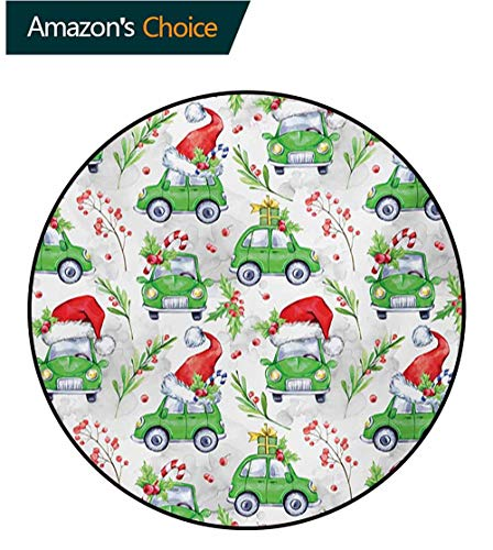 RUGSMAT Cars Modern Machine Round Bath Mat,Noel New Year Celebrations Christmas Composition with Green Cars Santa Hats Non-Slip No-Shedding Kitchen Soft Floor Mat,Round-35 Inch Lime Green Scarlet]()