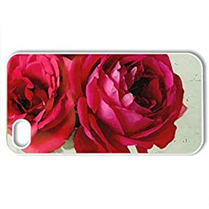 My Red Love - Case Cover for iPhone 4 and 4s (Flowers Series, Watercolor style, White)