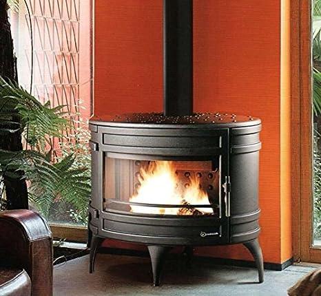 Invicta Mandor - Estufa de Hierro Fundido DE 12 Kw con Diseño Ovalado y Gran Ventana Panorámica Curvada: Amazon.es: Hogar