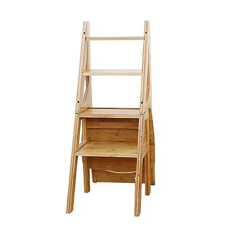 LXLA- Taburete plegable de madera maciza de 4 pasos para ...