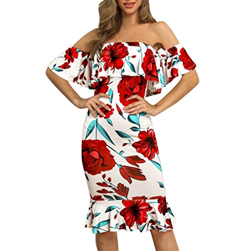 Women Dress JJLOVER Floral Print Cross Strappy Bodycon Dress Cold Shoulder Lace Short Sleeve Sexy Party Wrap Dress Red