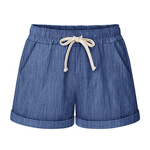 FunkyAmy Womens Boyleg Drawstring Beach Bottom Pants Casual Stretch Short Light Blue 2XL ()