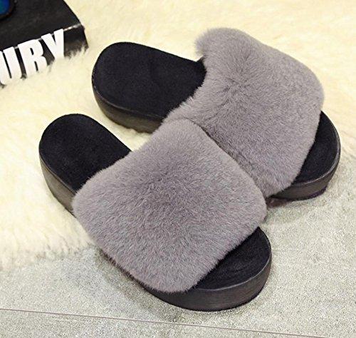 Mujer Zapatillas 39 Caliente Interiores Casual Otoño Mantener Peluche Para De Invierno En E Mhgao Gris 6InqdZZ