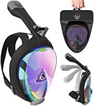 Aleoron - Foldable Full Face Snorkel Mask for Adults and Youth (Women & Men) - Anti Fog Snorkeling Mask Fu