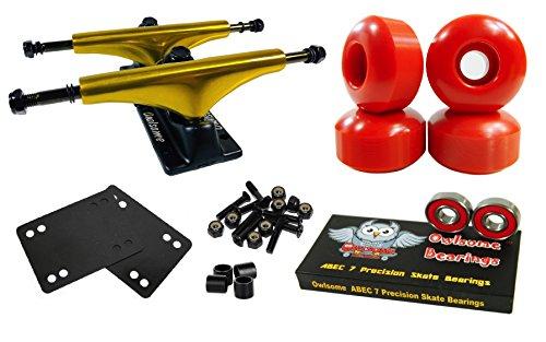 Owlsome 5.25 Metallic Gold/Black Aluminum Skateboard Trucks w/52mm Wheels Combo Set - Skateboard Wheels Gold