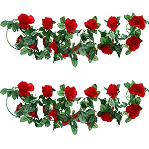 Well Love Artificial Flower Rose Vine Garland 8FT/Piece for Home Kitchen Wedding Party Garden Festival Office Outdoor Hanging Arch DIY Craft Art Decor Gift Set 57