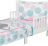 3pc Springtime Elephants Toddler Bedding Set Blanket Sheet and Pillowcase Set
