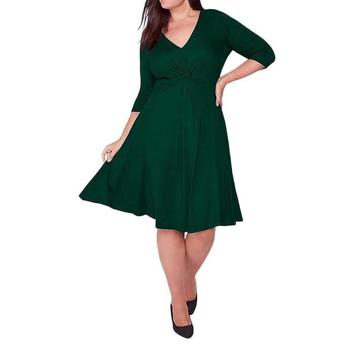 ♪ZEZKT♪übergröße kleider vintage damen,Frauen V-Ausschnitt ...
